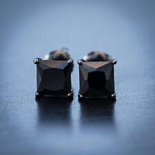 Men's Black Onyx Black Diamond Stud Earrings