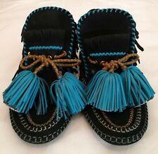 Carven Grenelle Suede Fringe Tassel Boots Black uk 6 eu 39