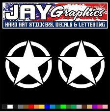 (2) 5 inch Invasion Stars | Army Jeep Decals | Stickers Oscar Willys JK TJ YJ XJ