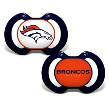 Denver Broncos Pacifiers 2 Pack Set Infant Baby Fanatic Bpa Free Nfl Nwt