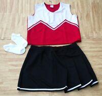 "Adult RED BLACK Cheerleader Uniform Top Skirt Sequin Brief 40-42//33-35/"" Cosplay"