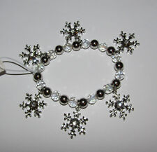 Snowflake Bracelet New Beaded Crystal Accents Silver Tone Winter Jewelry