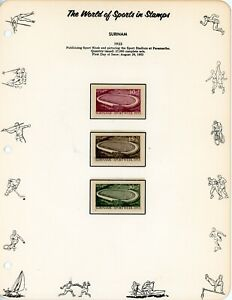 SURINAM--Complete set Semi Postals Scott #B55-#B57 Mounted on Page in Hingless M