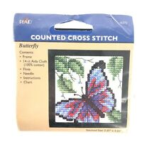Plaid Counted Cross Stitch Kit - Mini - Butterfly with Frame