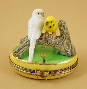 New French Limoges Trinket Box White & Yellow Parakeet Bird on Yellow &Green Box