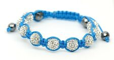10mm Crystal Disco Ball Macramé Shamballa Bracelet with Genuine Hematite stone