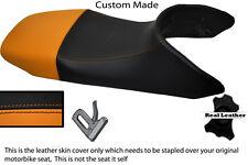 BLACK AND ORANGE CUSTOM FITS HONDA TRANSALP XL 650 LEATHER SEAT COVER