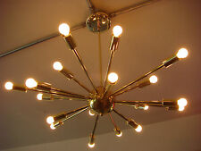 POLISHED BRASS ATOMIC SPUTNIK STARBURST LIGHT FIXTURE CHANDELIER CEILING LAMP