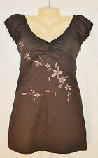 CHIC BoHo Urban Brown Embroidered Empire Baby Doll Tunic Blouse Shirt Top S/P