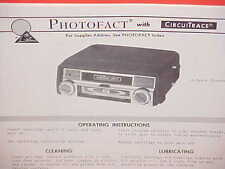 1969 LEAR JET CAR AUTO 8-TRACK STEREO TAPE PLAYER SERVICE MANUAL MODEL AS-831