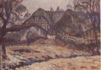Alte Kunstpostkarte - Wolf-Dietmar Stock - Gehöft um Nebel