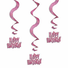 6 Pink Sparkle Happy Birthday Party Hanging Holographic Swirls Decorations