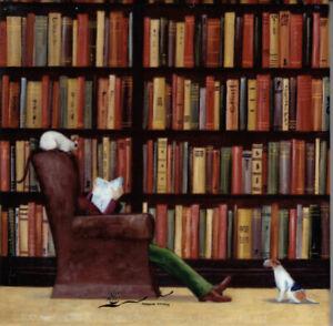 Porzellan / Kachel / quadratisch / Hund / Katze / Lesender / Bücher / Campbell