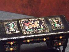 Dollhouse Miniature Russian Black Lacquer Writing Desk 1:12  one inch scale  E64