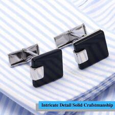 Unique Intricate Detail Solid Craftsmanship Black Stone Silver Square Cufflinks