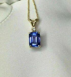 1.49 Ct Blue Tanzanite Diamond Pendant 14K Yellow Gold Finish