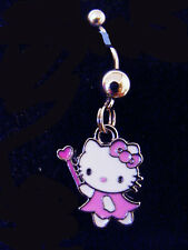 Ring Navel Ring 14G Surgical Steel Hello Kitty Pink Fairy wand heart Belly