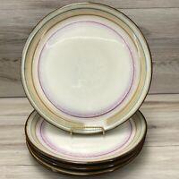 "Sango ARCADIA BLACK set 4 dinner Plates 11 3/8"" 4605 Brown Beige Red Bands NICE"