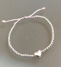 Silver Ball Heart Friendship Surfer Adjustable Bracelet - Baby Pink Cord