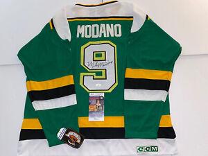mike modano signed Green jersey Minnesota North Stars JSA  COA