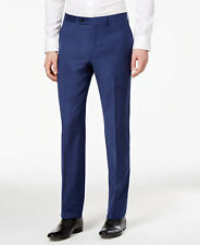 $200 CALVIN KLEIN Men Extreme Slim Fit Wool Trousers Blue FLAT FRONT PANTS 30 W