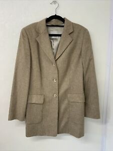 Gil Bret Brown Beige Wool Mix Longline Blazer Jacket 14