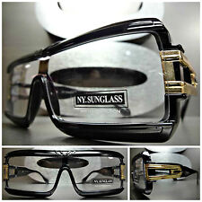 Men's Women VINTAGE RETRO WRAP Clear Lens FASHION EYE GLASSES Black & Gold Frame