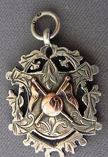 Antique Edwardian Sterling Silver Rose Gold Watch Fob Awards Medal 1904