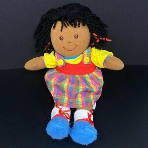 Vintage Eden Soft Doll Plush African American Yarn Hair Removable Plaid Dress