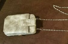 Vintage silver patent leather cross-body silver chain purse, wallet
