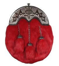 Scottish Kilt Sporran Red Rabbit Fur Celtic Cantle Kilt for Men + Chain Belt
