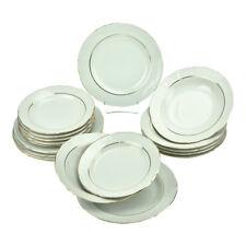 Round Porcelain Dinner Set 18 Piece Ceramic Dinnerware Gold Rimmed Service Plate