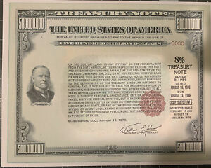 REPRODUCTION $500 MILLION Treasury Note 1976/86 FRAMEABLE See Description Below
