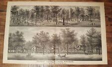 LARGE Antique Steel Engraving - FOREST PARK - OTTAWA - 1887 KANSAS ATLAS