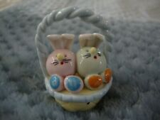 Easter Collectibles Handmade Miniatures Animals Figurines bunnies in the basket