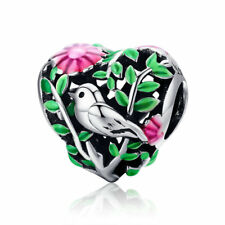 Wostu sterling silver bird and Flower Charm With Beautiful Green And Red Enamel
