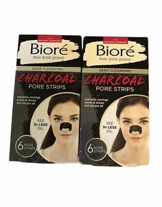 Biore 6 NOSE STRIPS Deep Cleansing CHARCOAL Instantly Unclogs Pores Set Of 2