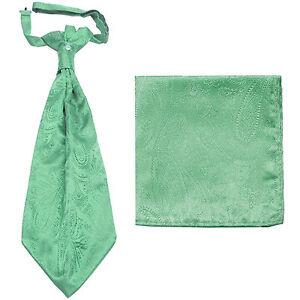 New men's polyester ASCOT cravat neck tie & hankie set Aqua Green Paisley prom