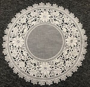 """4 Pieces 10"""" Embroidered Lace Jeweled Cutwork Doily Doilies White Silver Wedding"""