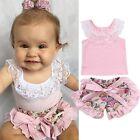 Toddler Kids Baby Girl Floral T-shirt Tops+Pants Shorts Outfits Clothes 2PCS Set