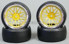 RC Car 1/10 DRIFT WHEELS TIRES Package 6MM Offset GOLD w/ CHROME LIP  *SET OF 4*