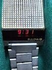 Vintage 70s White Bulova Computron LED Watch Runs great