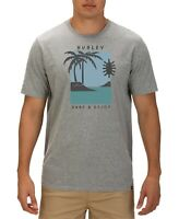 Hurley Mens T-Shirt Gray Size Large L Crewneck Palm Tree Graphic Tee $25 #167
