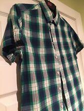 Zara Mens Shirt Denim Collection Small Mens Man Green Blue White Checkered