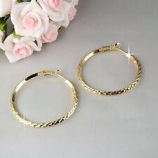 E11 18K Yellow Gold Plated 4 cm Diamond Pattern Creole Hoop Earrings