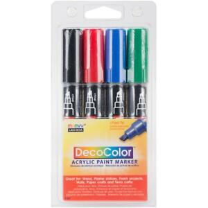 Deco Color Acrylic Set 4/Pkg-Black, Red, Blue and Green Marvy