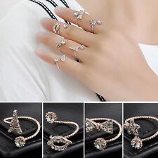 11x Fashion Women Jewelry Gold Silver Plated Rhinestone Ring Set Gift SIZE 5~10