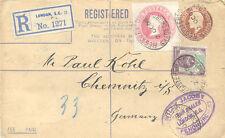 2471 1908 QV 3 D rose cut-out from registered letter together w EVII stamps cvr