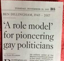 BEN DILLINGHAM 1945 - 2017  OBITUARY ROLE MODEL PIONEERING GAY POLITICIANS LGBTQ
