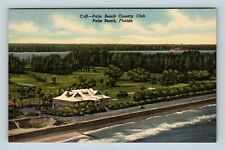 Palm Beach FL, Country Club, Florida, Linen Postcard Z35